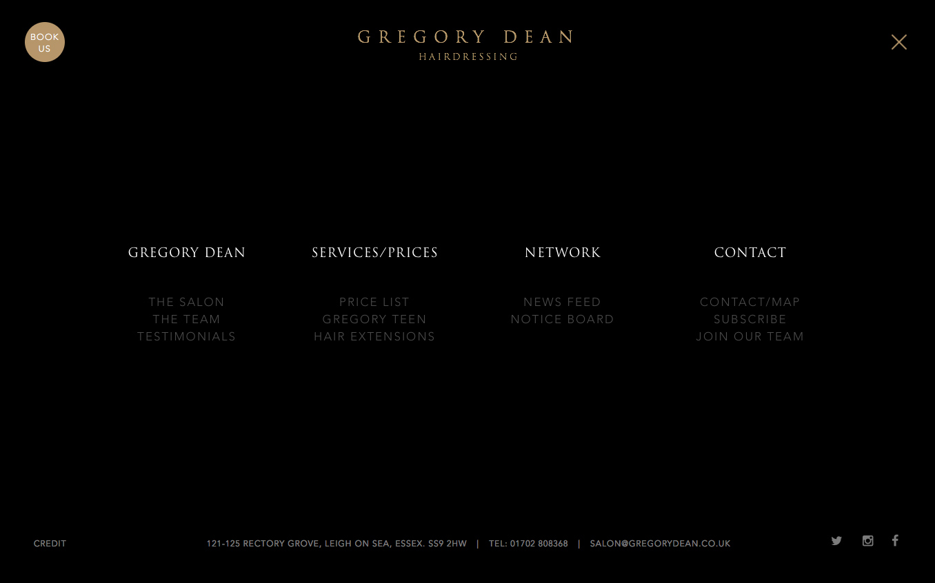 Website menu design for Gregory Dean Hair Salon