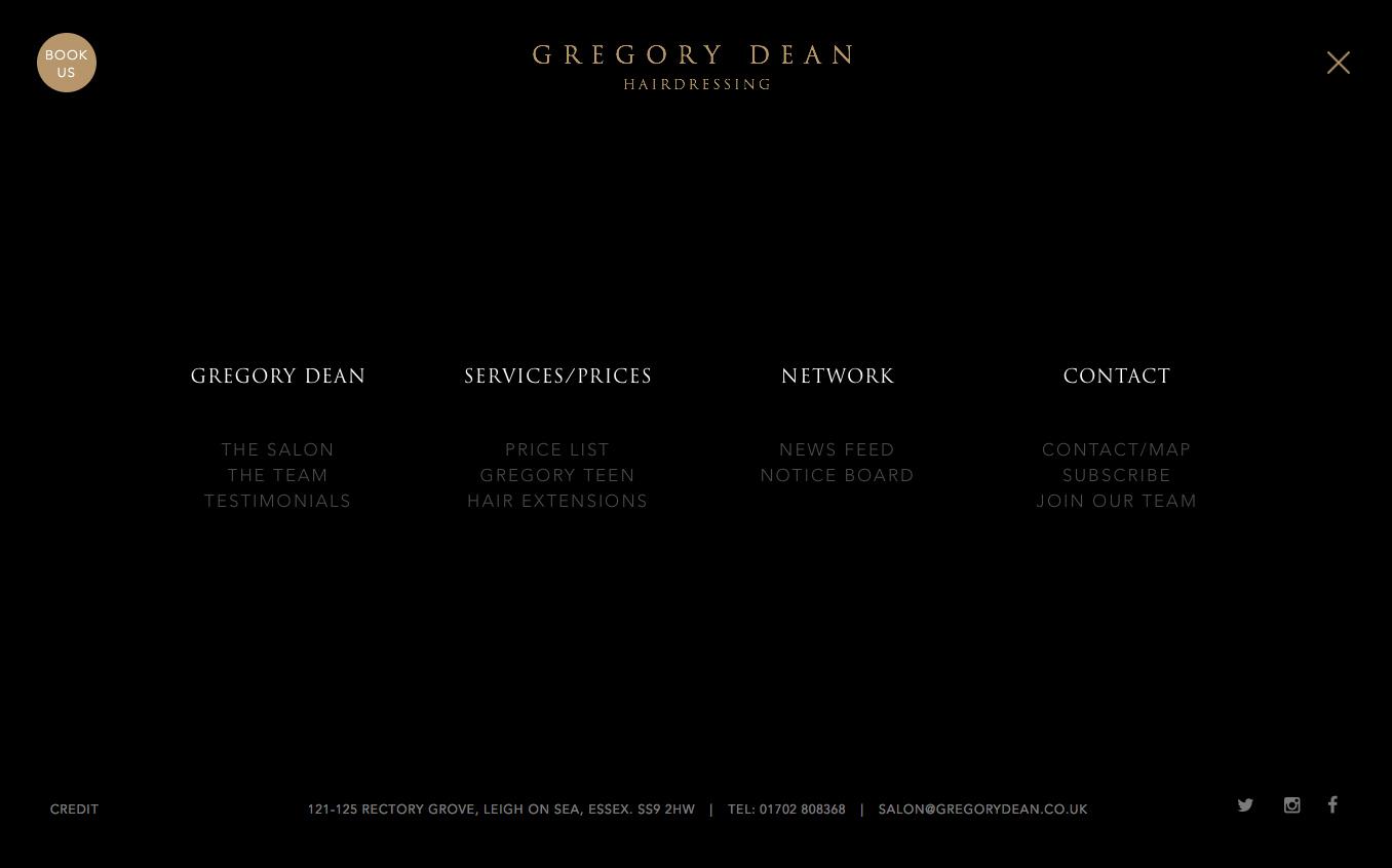 Website menu design for Gregory Dean Hair Salon