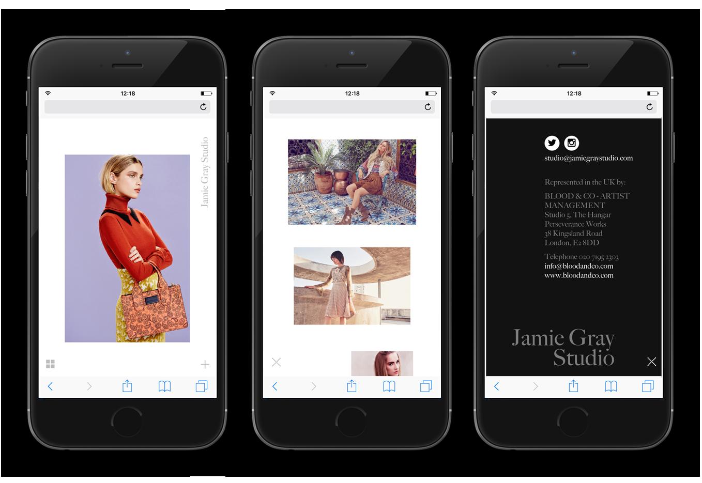 Mobile website design for Jamie Gray Studio