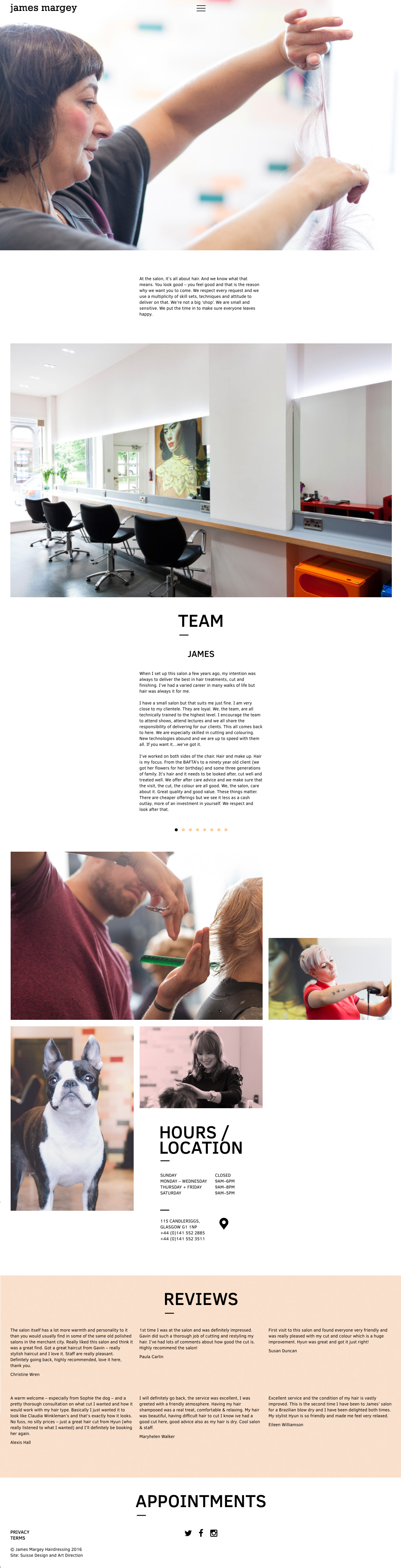 James Margey Website Services page
